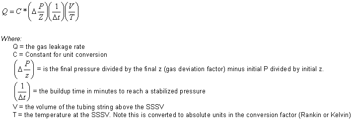 Gas Leak Rate Formula